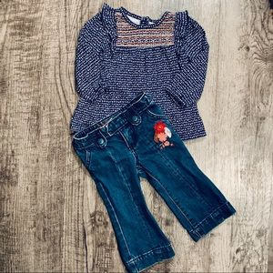 Guess Bootcut Embroidered Jeans & Smocked Top 12 M